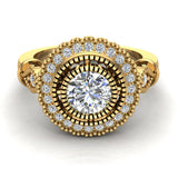 0.98 Carat Vintage Halo Solitaire Wedding Ring 18K Gold (G,SI) - Yellow Gold