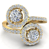 Two-Stone Diamond Halo Setting Engagement Ring 14k Gold (I,I1) - Yellow Gold