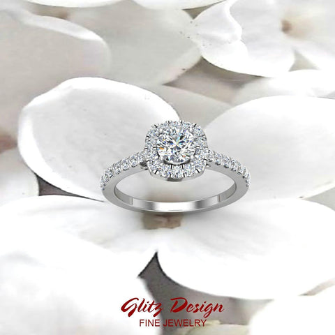 Ravishing Round Cushion Halo Diamond Wedding Ring 1.15 ctw 18K Gold (G,SI) - White Gold