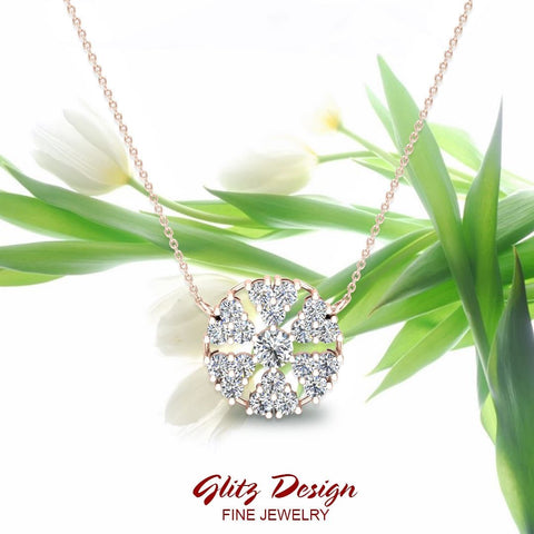 Petals of a Flower Cluster Diamond Pendant in 14K Gold (G,SI)