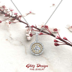 Round Brilliant Diamond Double Halo 2 tone necklace 14K Gold (I,I1)