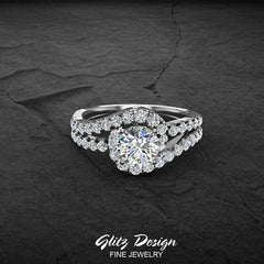 Diamond Engagement Rings for Women 1.25 ctw Ocean Wave Style Split Shank 14K Gold (G,SI)