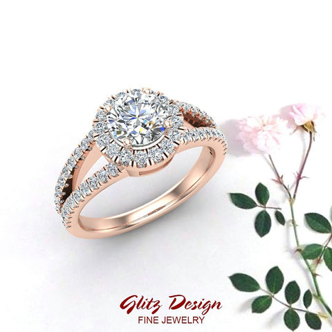 Split Shank Halo Diamond Ring 1.20 ctw Engagement Ring 14k Gold (G,SI)