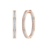 14K Gold Hoop Earrings 29 mm Diamond Line Setting Secure Click-in Lock (G,SI) - Rose Gold