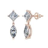Princess & Marquise Drop Two stone Diamond Dangle Earrings 14K Gold (I,I1) - Rose Gold