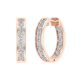 14K Gold Hoop Earrings 18mm Diamond Line Setting Secure Click-in Lock (I,I1) - Rose Gold