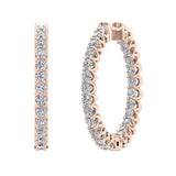 Exquisite 25.99 mm Diameter Inside Out Diamond Hoop Earrings 1.90 ctw 18K Gold Shared Prong Setting  (G,VS) - Rose Gold