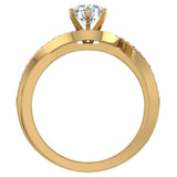 1.00 carat Intertwined Diamond Engagement Ring Twisted Shank 14K Gold Setting (G,SI) - Yellow Gold