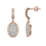 Pave Set Oval Dangle Diamond Earrings 18K Gold (G,VS) - Rose Gold