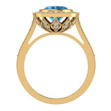 Classic Oval Blue Topaz & Diamond Fashion Ring 14K Gold - Yellow Gold