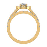 Stunning Round Halo Encrusted Shank Diamond Wedding Ring Set 1.42 ctw 14K Gold (G,I1) - Yellow Gold