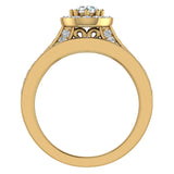 Halo with Accent Diamonds Wedding Ring Set 18K Gold (G,VS) - Yellow Gold