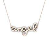 Angel Charm Necklace 18K Gold Bezel set Diamond Highlight (G,SI) - Rose Gold