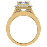 Princess Cut Wedding Rings Set for Women 18K Gold Quad Illusion 1.80 ct tw (G, VS) - Yellow Gold