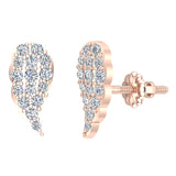 Angel Wing Pave Diamond Cluster Stud Earrings 0.50 ctw 14K Gold (I,I1) - Rose Gold