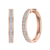 14K Gold Hoop Earrings 26 mm Diamond Line Setting Secure Click-in Lock (G,SI) - Rose Gold