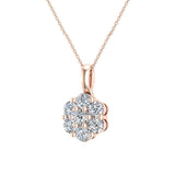 14K Gold Necklace Diamond Cluster Flower Style (G,SI) - Rose Gold
