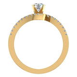 18k Gold Diamond Promise Ring Bypass Setting 0.50 ctw (G,VS) - Yellow Gold