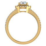 Split Shank Halo Diamond Ring 1.20 ctw Engagement Ring 14k Gold (I,I1) - Yellow Gold