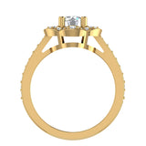 Solitaire Diamond Floral Halo Wedding Ring 18K Gold (G,VS) - Yellow Gold