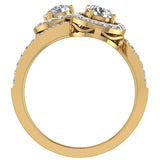 Two-Stone Diamond Halo Setting Engagement Ring 14k Gold (G,SI) - Yellow Gold
