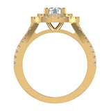 Cushion Halo Diamond Engagement Ring 1.35 Carat Total Weight Y Style Setting 14K Gold (G,SI) - Yellow Gold
