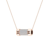 14K Gold Necklace Pave Diamonds Eternity Contemporary Capsule Shape Pendant 3/4 Carat Total Weight (I,I1) - Rose Gold