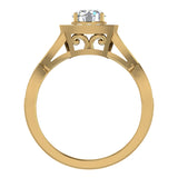 Intertwined Diamond Engagement Ring Cushion Shape 18k Gold 1.27 ct tw (G,VS) - Yellow Gold