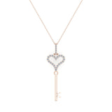 14K Gold Key to your Heart Diamond Necklace ¼ ctw (G,I1) - Rose Gold