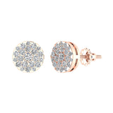 Round Cluster Diamond Earrings 0.56 ctw 18K Gold (G,VS) - Rose Gold