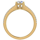Split Shank Diamond Engagement Ring with Accent Diamonds 1.10 ctw 18K Gold (G,VS) - Yellow Gold