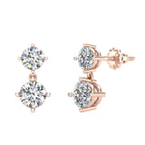 Round Brilliant Drop Two stone Diamond Dangle Earrings 14K Gold (G,SI) - Rose Gold