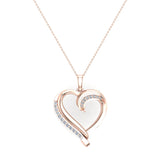 14K Gold Necklace Petite Heart Diamond Pendant Pave set ⅙ ctw (G,I1) - Rose Gold