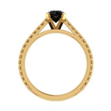 Black Round Brilliant Cut Rope Setting Solitaire Engagement Ring 14K Gold - Yellow Gold