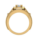 Vintage Halo Diamond Engagement Ring Millgrain Style w/ Band 1.51 Carat Total Weight 14K Gold (G,SI) - Yellow Gold