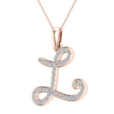 Initial Necklace L Letter charms Diamond pendant necklace 18K Gold (G,VS) - Rose Gold