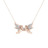 14K Gold Necklace Twin Angels & Wings Diamond Charm Pendant (I,I1) - Rose Gold
