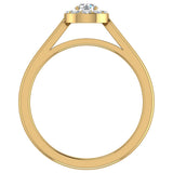 Round Diamond Halo Promise Ring in 14k Gold (G,I1) - Yellow Gold