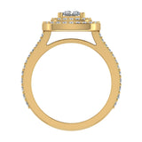 Magnificent Princess Diamond Cushion Halo V Shank Engagement Ring 1.47 ctw 14K Gold (I,I1) - Yellow Gold