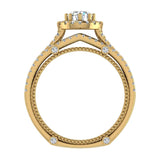 Vintage Look Split Shank Diamond Engagement Ring Set 14K Gold (I,I1) - Yellow Gold