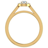 Round Diamond Halo Promise Ring in 14k Gold (G,SI) - Yellow Gold