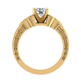 0.78 Carat Art Deco Trinity Knot Engagement Ring 14K Gold (I,I1) - Yellow Gold