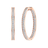 18K Gold Hoop Earrings 33 mm Diamond Line Setting Secure Click-in Lock (G,VS) - Rose Gold