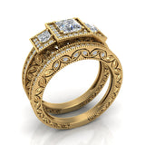 Princess Cut Vintage Engagement Ring Set with Wedding Band 18K Gold (G,VS) - Yellow Gold