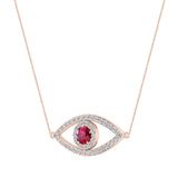 0.94 Carat Evil Eye Diamond & Ruby Pendant 14K Gold Necklace - Rose Gold