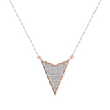 14K Gold Chevron Shape Arrow Pendant Pavé set Diamonds Necklace 0.50 Carat Total Weight (I,I1) - Rose Gold