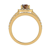 1.38 ct tw Champagne & White Round Diamond Cathedral Style Halo Engagement Ring Set 14K Gold (J,I1) - Yellow Gold