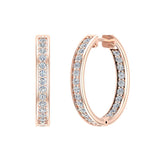 14K Gold Hoop Earrings 21 mm Diamond Line Setting Secure Click-in Lock (G,SI) - Rose Gold