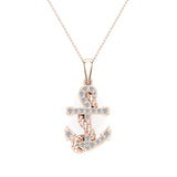 Anchor Diamond Pendant in 14K Gold (I,I1) - Rose Gold