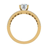 Diamond Rows Bezel Shank Wide Engagement Ring 1.44 Carat Total 14K Gold (I,I1) - Yellow Gold